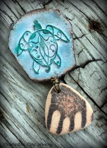 Sea Swept Turtle and Beach Pottery by Shannon Tabor