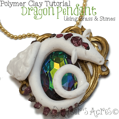 Polymer Clay Dragon Pendant Tutorial Using Brass & Gemstones by KatersAcres