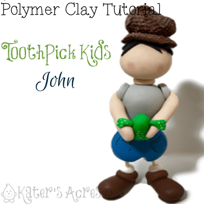Polymer Clay Toothpick Kids JOHN by KatersAcres