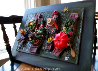 """Melissa Terlizzi, """"Floating Market"""" in Polymer Clay & Resin, Mounted on Canvas"""
