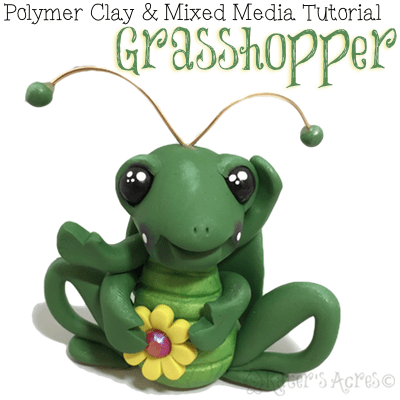 Polymer Clay GRASSHOPPER Tutorial by KatersAcres