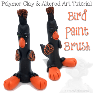 Polymer Clay & Altered Art BIRD Paint Brush Tutorial by KatersAcres