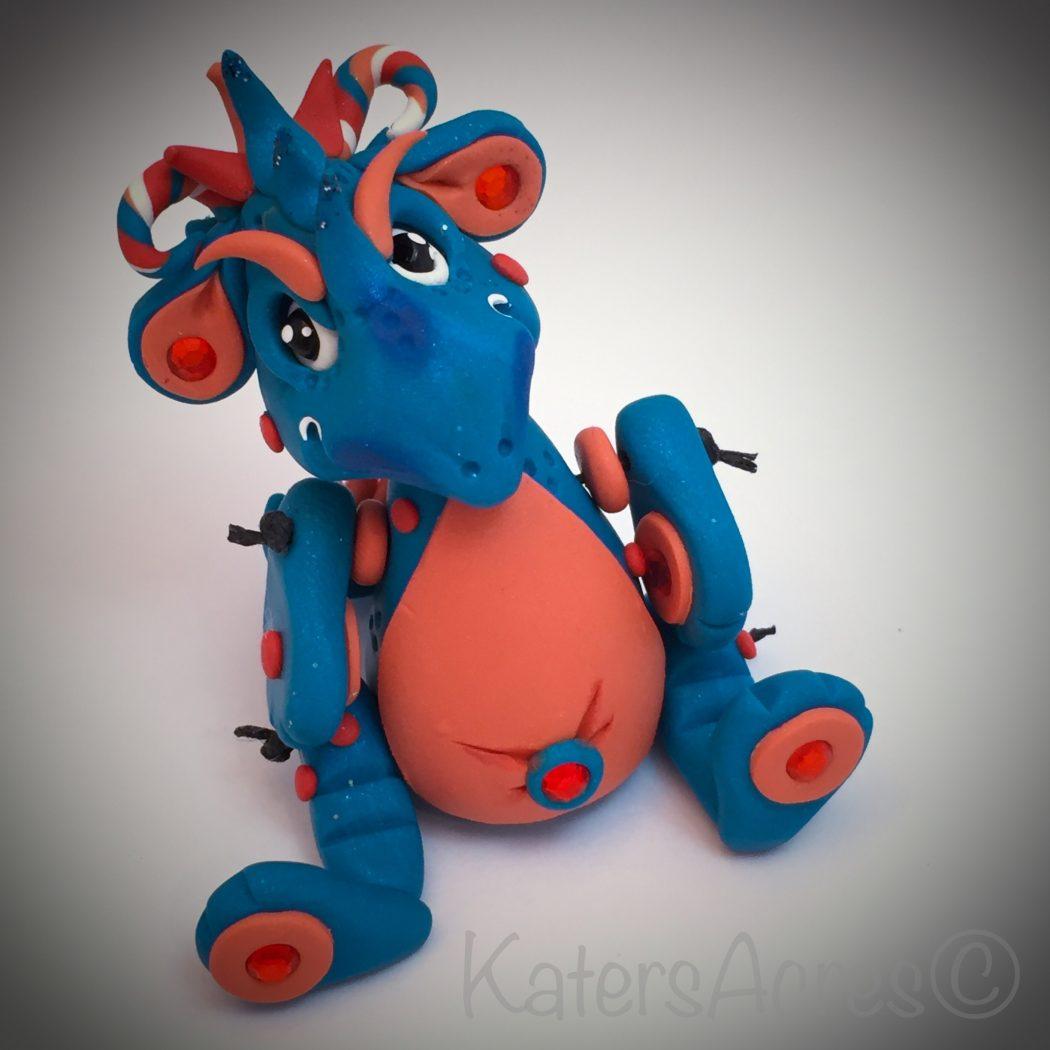 Dragon Bleu Animal polymer clay dragon, bleukatersacres - hand sculpted articulated