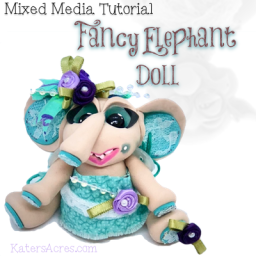 Jointed Fancy Lace Elephant Doll Polymer Clay Tutorial by KatersAcres