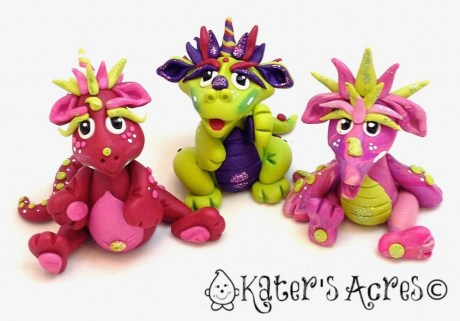 Polymer Clay Dragons: Ruby, Margharite, & Pinky by Katie Oskin