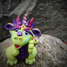 Rita polymer clay dragon by Katie Oskin