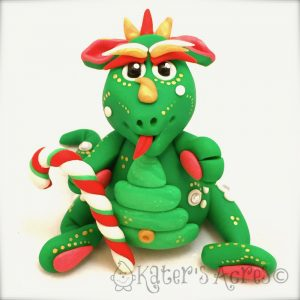 Evergreen, Polymer Clay Dragon by Kater's Acres