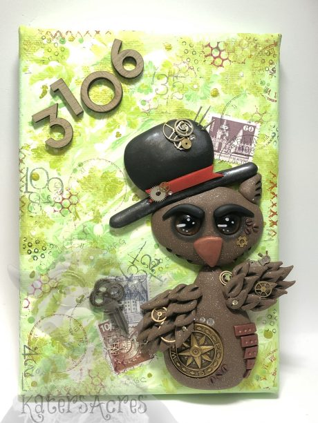 Polymer Clay OWL Mixed Media Wall Hanging MAIN by KatersAcres