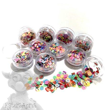 10 Mini Jars of Millefiori Cane Slices