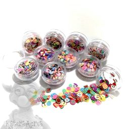 10 Mini Jars of Millefiori Cane Slices