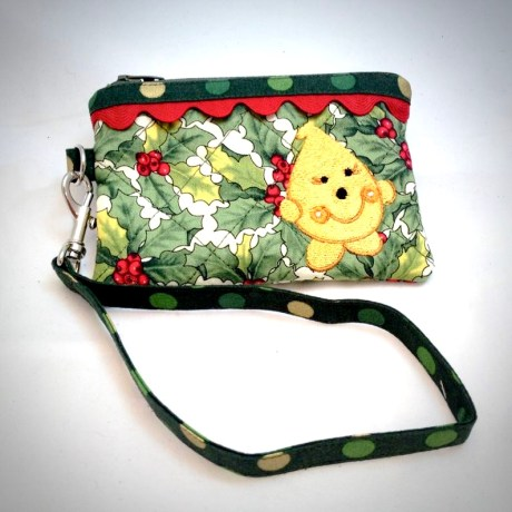Christmas Parker Wristlet in Holly & Berries Pattern from Kater's Acres