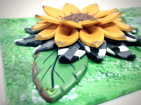 Polymer Clay SUNFLOWER WALL HANGING by Katie Oskin of KatersAcres
