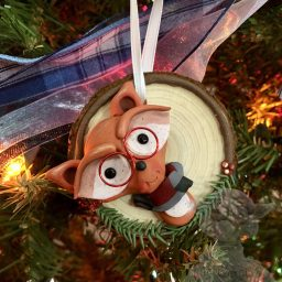 Nerd Fox Christmas Ornament Handmade from Polymer Clay by Kater's Acres