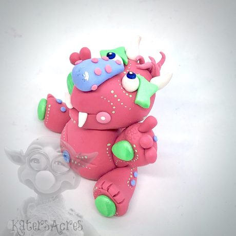 Pink Monster, a Polymer Clay Collectible from Kater's Acres