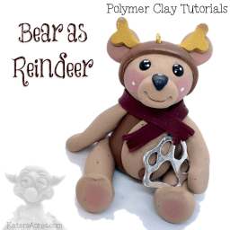 Bear Dressed as Reindeer Polymer Clay Ornament Tutorial by Kater's Acres