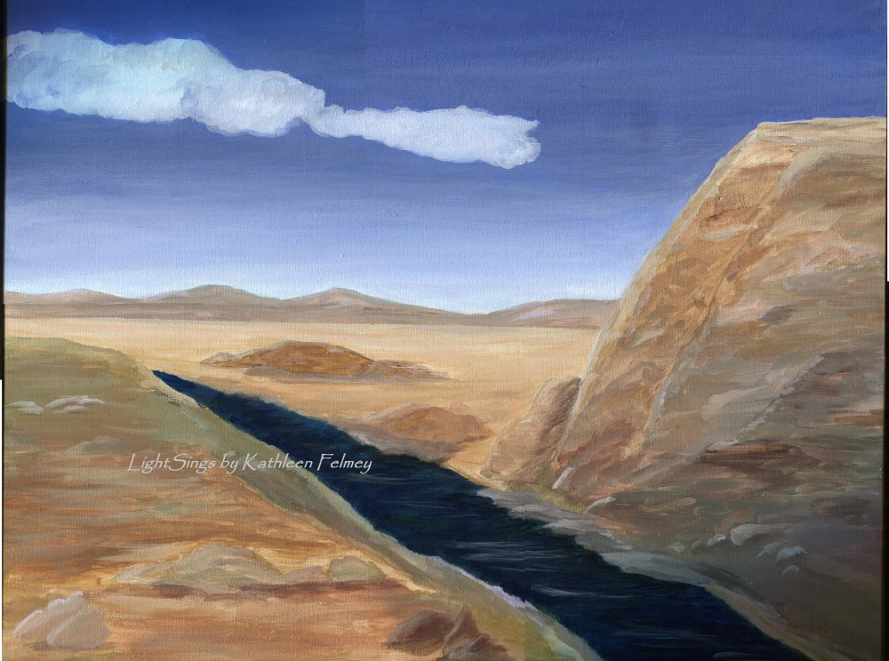 A Stream in the Desert Painting