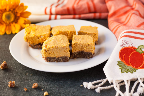 No Bake Vegan Pumpkin Cheesecake Bars