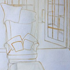 Orange Side Chair Folding Outdoor Camping Chairs Simple Perspective In Interior Studies   My Painting Practice
