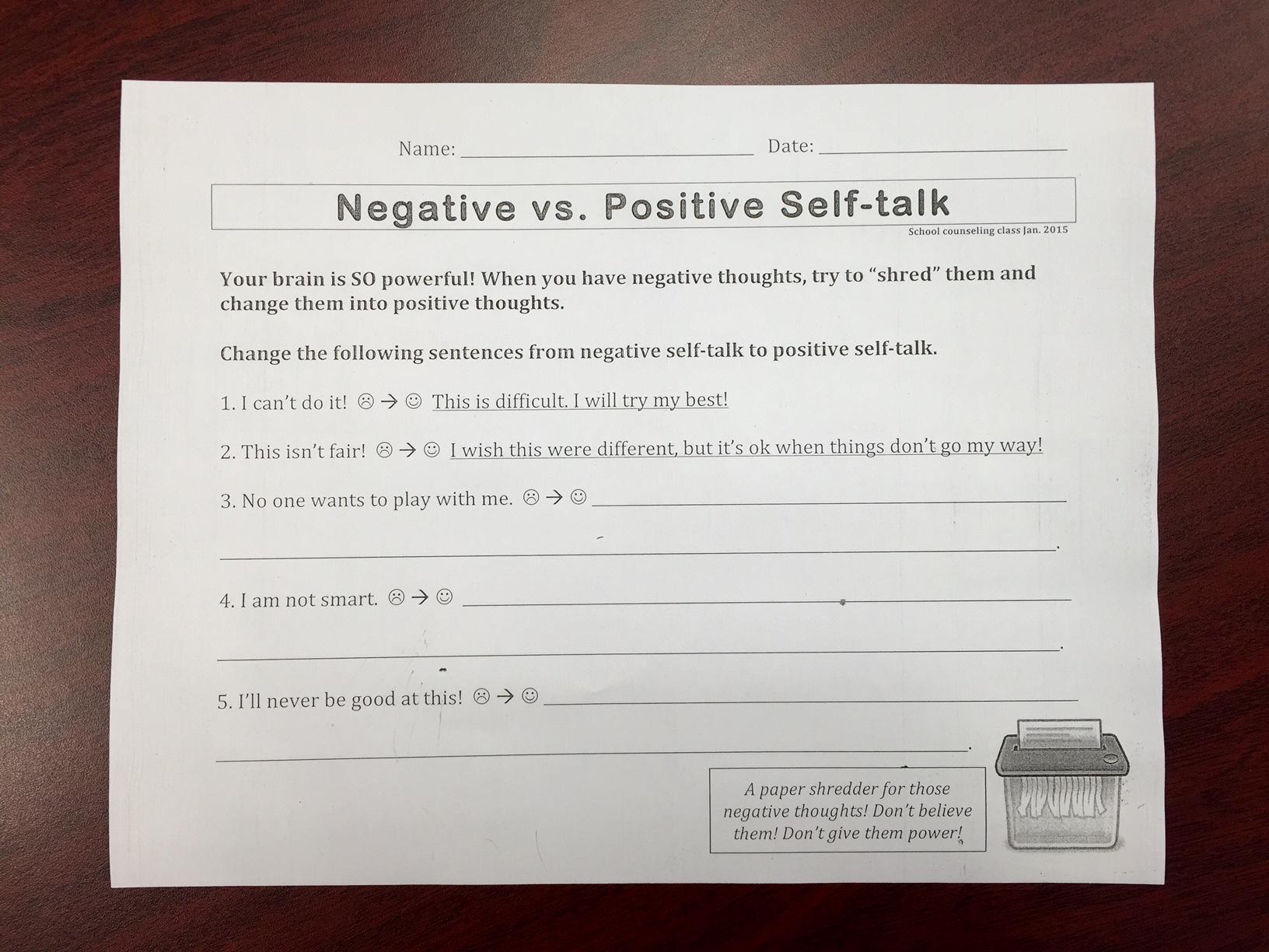 Positive Self Talk Worksheet Free Worksheets Library