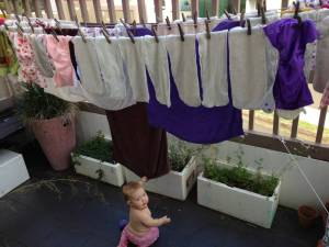 A very very wet load of laundry hung out to dry