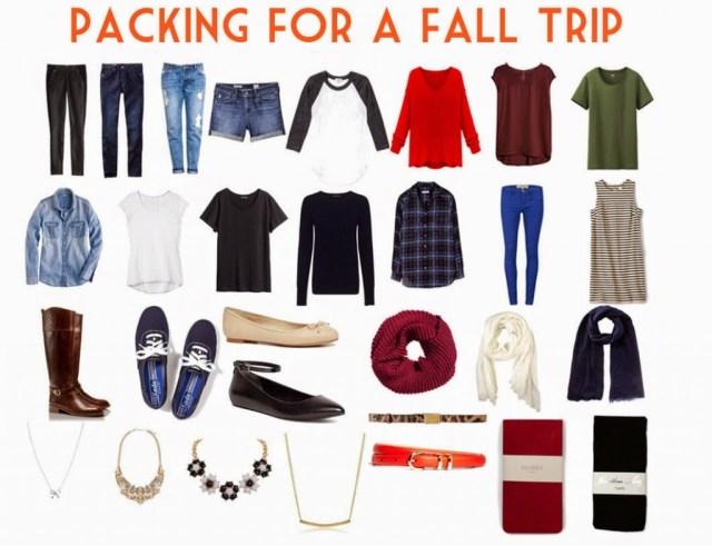 fall fashion packing checklist