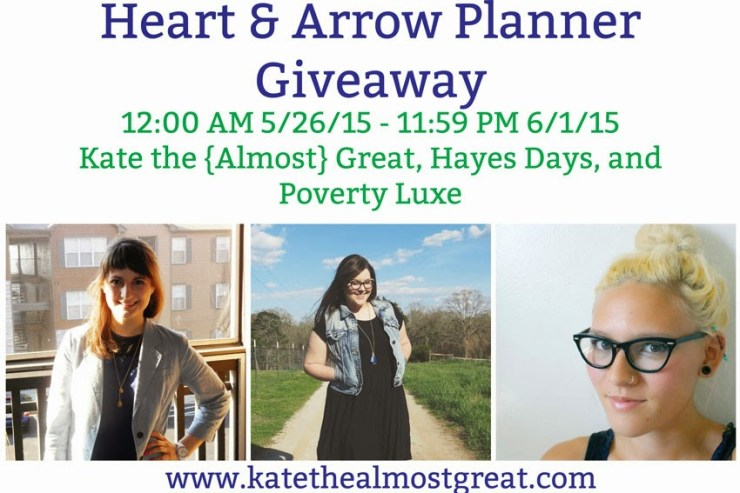 Heart & Arrow Planner Giveaway - Kate the (Almost) Great