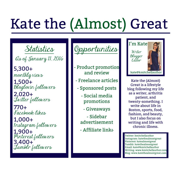Kate the (Almost) Great Media Kit