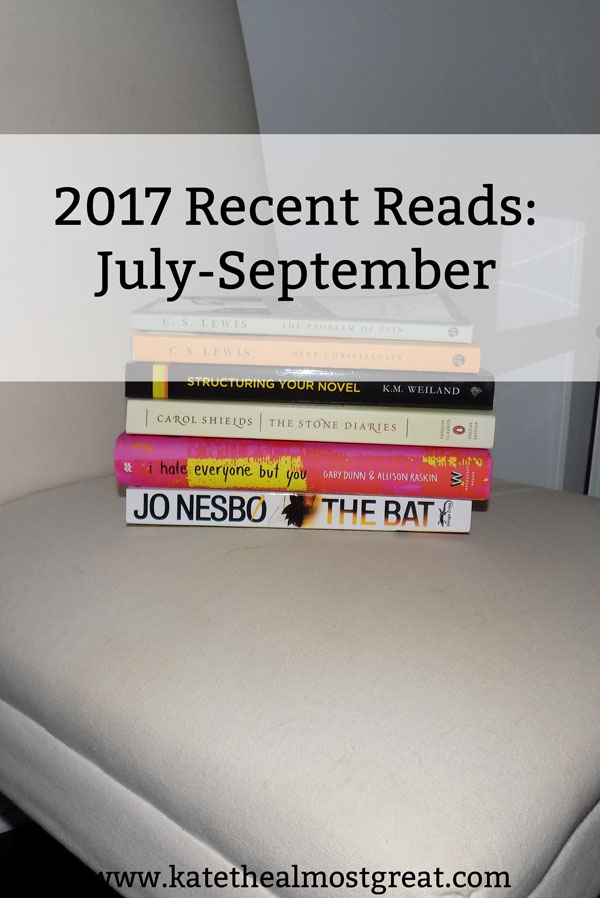 Looking for something new to read? Here are the 8 books I've read over the last 3 months and what I thought about them. From thriller to YA, from Christian to literary fiction, there's a book here for you.