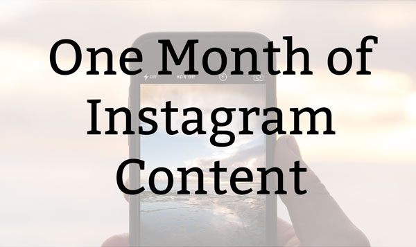 Sign up for the bi-monthly newsletter and get one month's worth of Instagram content for free!