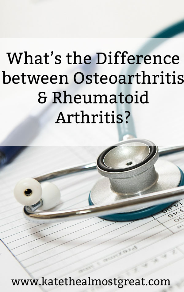 Arthritis patient and blogging Kate the (Almost) Great shares the answer to the question she gets the most: What's the difference between osteoarthritis and rheumatoid arthritis? She also shares who can get each and symptoms of each, as well as resources.
