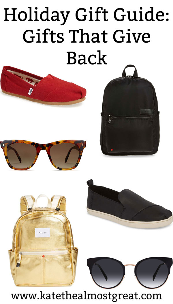 This holiday season, why not buy some gifts that can help other people? These shoes, bags, and sunglasses all help causes.