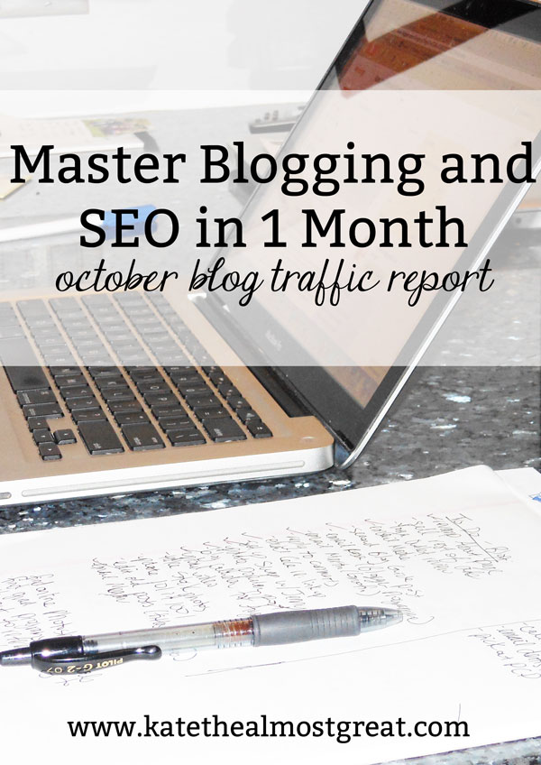 Boston lifestyle blogger Kate the (Almost) Great shares how she mastered blogging and SEO in 1 month in this blog traffic report.