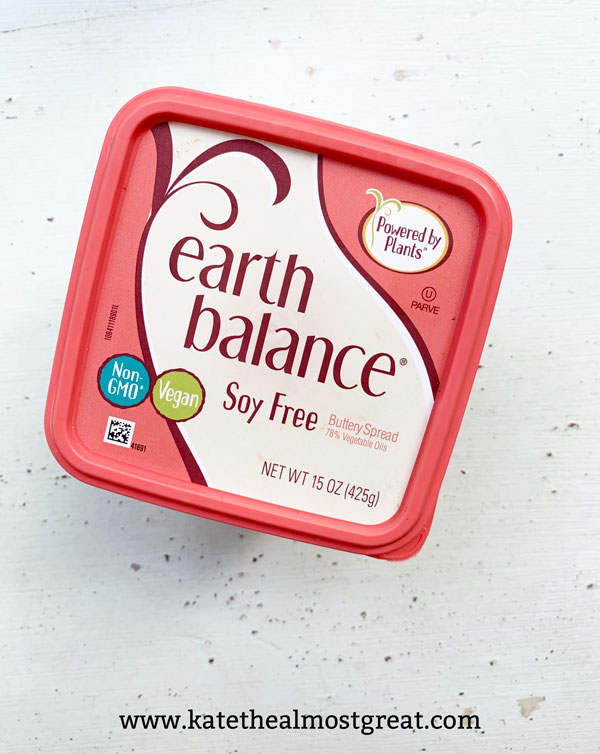 dairy-free butter, vegan butter, soy-free butter, earth balance, food substitute, food substitution, dairy substitute, butter substitute
