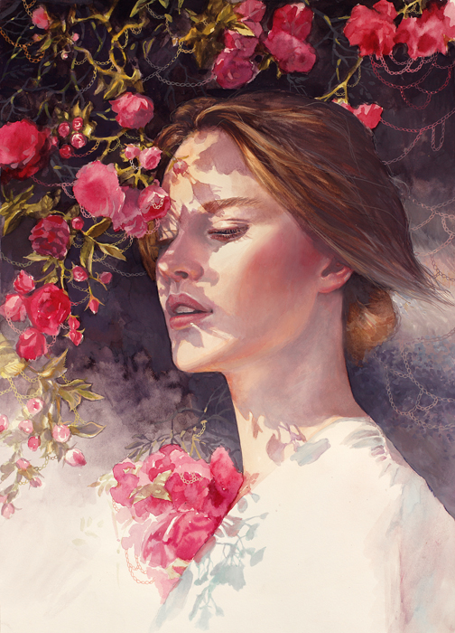 Painting, Art, Artwork, For Sale, Buy, Watercolor, Pink, Portrait, Realistic, Rose, Roses, Smell, Watercolor, Woman, Light And Dark, Eyes Closed, Watercolor Painting, Girl, Pink, Flowers