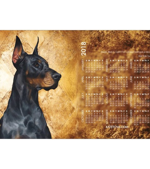 Doberman Dog 2018 Art Wall Calendar