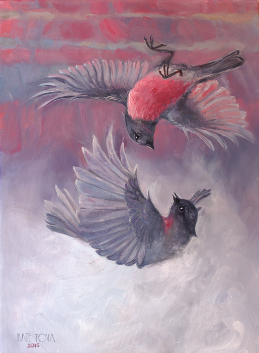 oil painting, pink robin, bird fighting, bird fight, falling birds, flying, bird art, Beautiful, Purple, Blue, pink, Surrealism, Canyon, Grand Canyon, Fight Or Flight, Falling, Fog, Foggy, Luxury, Beautiful, Portrait, Realism, Realistic, original, oil, realistic, impressionistic, painting for sale, sold, fine art, buy a painting, wall art, gift, christmas, artist, painting art, portrait artist, portrait, contemporary painting, painting gallery, custom art, custom paintings, usa, america, american art, red, Kate Tova artist, canvas, christmas gift, anniversary, new year, birthday present, unique, exclusive, expensive, luxurious, living room, guestroom, Kate Tova, wedding gift, Valentines day gift, hand painted, art for dining room, guest room, living room, bedroom, canvas print, print, painting on canvas