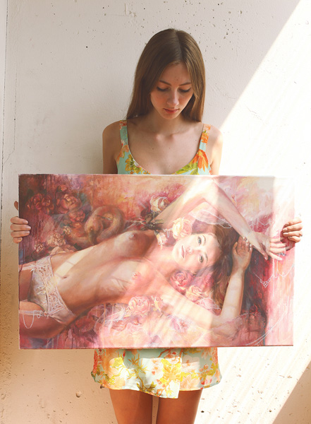 oil painting, oil portrait, woman, girl, nude, sexy, oil on canvas, art, artwork, painting, purple, flamingo, original, realistic, painting for sale, sold, fine art, buy a painting, wall art, gift, christmas, artist, portrait art, portrait artist, contemporary painting, painting gallery, painting, custom art, custom paintings, nature, water, usa, america, american art, blue, purple, Kate Tova artist, christmas, gift, anniversary, new year, birthday present, unique, exclusive, expensive, luxurious, living room, guestroom, Kate Tova, wedding gift, Valentines day gift, hand painted, art for dining room, guest room, living room, bedroom, print, peonies, roses, flowers