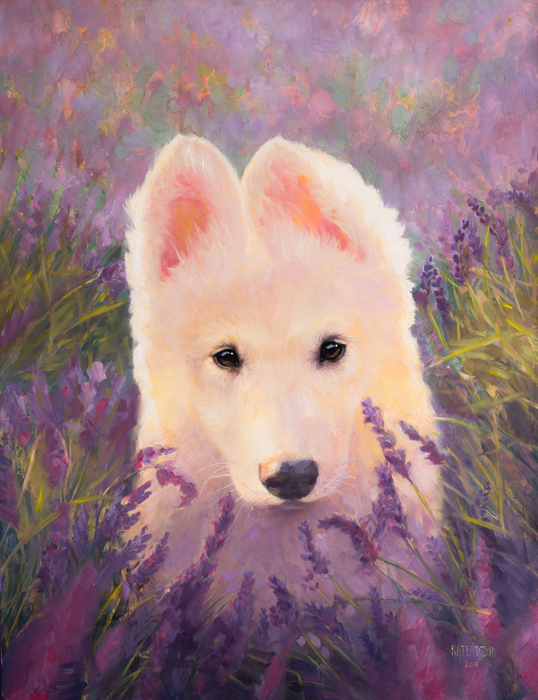 oil painting, Puppy, Purple, Shepherd, White, Canine, Cute, Lavander, Dog, Husky, Nature, Oil original, oil, realistic, impressionistic, painting for sale, sold, fine art, buy a painting, wall art, gift, christmas, artist, painting art, portrait artist, portrait, contemporary painting, painting gallery, custom art, custom paintings, usa, america, american art, red, Kate Tova artist, canvas, christmas gift, anniversary, new year, birthday present, unique, exclusive, expensive, luxurious, living room, guestroom, Kate Tova, wedding gift, Valentines day gift, hand painted, art for dining room, guest room, living room, bedroom, canvas print, print, painting on canvas, gift for horse lover
