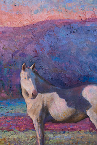 painting of a horse, monet, monet style, pink, Pastel, Purple, Soft, Sunrise, Sunset, Monet, White Horse, Horse, Mountains, Nature, Oil On Canvas, Equine, Horses, Grazing, Landscape, Magenta ,Oil original, oil, realistic, pet portrait, painting for sale, sold, fine art, buy a painting, wall art, gift, christmas, artist, painting art, portrait artist, portrait, contemporary painting, painting gallery, custom art, custom paintings, usa, america, american art, red, Kate Tova artist, canvas, christmas gift, anniversary, new year, birthday present, unique, exclusive, expensive, luxurious, living room, guestroom, Kate Tova, wedding gift, Valentines day gift, hand painted, art for dining room, guest room, living room, bedroom, canvas print, print, painting on canvas, gift for horse lover