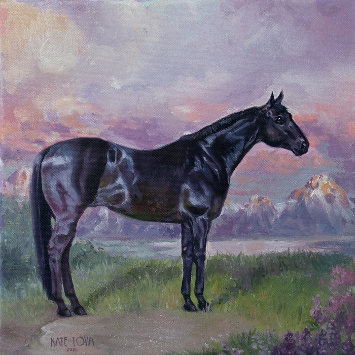 Purple, Sunset, Oil Painting, Wyoming, Quarter Horse, Shiny, Full Size, Black Horse, Horse, Mountains, Mustang, Oil