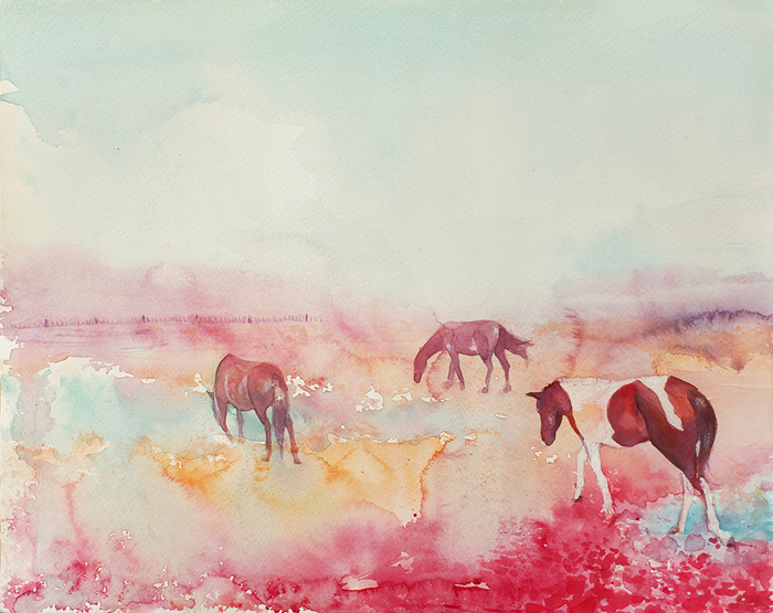 Beautiful, Pink, Watercolor, Flower Field, Abstract, Flowers, Fog, Horse Lover, Grazing, Haze, Horses, Pinto, waterolor painting, watercolor portrait, woman, girl, lace, art, artwork, painting, purple, original, watercolor, realistic, painting for sale, sold, fine art, buy a painting, wall art, gift, christmas, artist, landscape art,landscape artist, contemporary painting, painting gallery, painting, custom art, custom paintings, nature, water, usa, america, american art, blue, purple, Kate Tova artist, christmas, gift, anniversary, new year, birthday present, unique, exclusive, expensive, luxurious, living room, guestroom, Kate Tova, wedding gift, Valentines day gift, hand painted, art for dining room, guest room, living room, bedroom, print