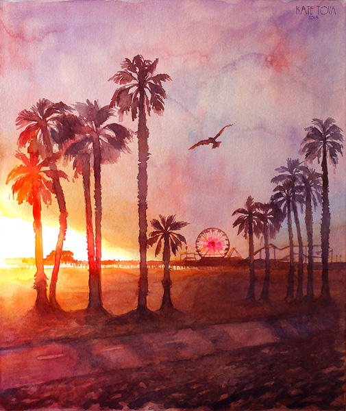 Santa Monica Painting, Palm Trees, Usa, California, Waterolor Painting, Art, Artwork, Painting, Surfers, Surfing, Sunset, Sunrise, Purple, Original, Watercolor, Realistic, Painting For Sale, Sold, Fine Art, Buy A Painting, Wall Art, Gift, Christmas, Artist, Landscape Art,landscape Artist, Contemporary Painting, Painting Gallery, Painting, Custom Art, Custom Paintings, Nature, Water, Usa, America, American Art, Blue, Purple, Kate Tova Artist, Canvas, Christmas, Gift, Anniversary, New Year, Birthday Present, Unique, Exclusive, Expensive, Luxurious, Living Room, Guestroom, Kate Tova, Wedding Gift, Valentines Day Gift, Hand Painted, Art For Dining Room, Guest Room, Living Room, Bedroom, Print