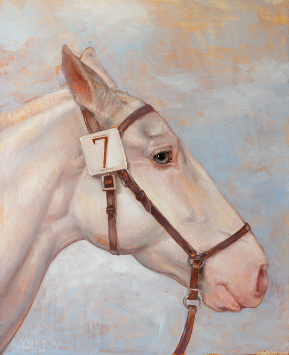 White Thoroughbred Horse, Race Horse, Number Seven, 7, Realitic Painting, White Horse, Portrait, Portrait, Race, Racing, White, Albino, Blue Eye, White Horse, Dressage, Race Horse, Horse, Oil