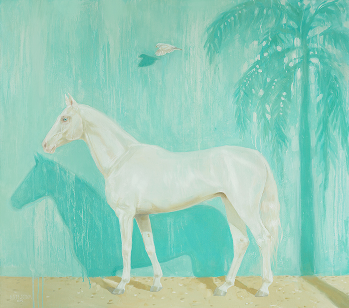 oil painting, white horse, horse painting, horse art, white bird, palm trees, oil portrait, oil on canvas, art, artwork, painting, original, realistic, painting for sale, sold, fine art, buy a painting, wall art, gift, christmas, artist, equine art, equine artist, contemporary painting, painting gallery, painting, custom art, custom paintings, nature, animals, animal, usa, america, american art, blue, turquoise, Kate Tova artist, christmas, gift, anniversary, new year, birthday present, unique, exclusive, expensive, luxurious, living room, guestroom, Kate Tova, wedding gift, Valentines day gift, hand painted, art for dining room, guest room, living room, bedroom, print