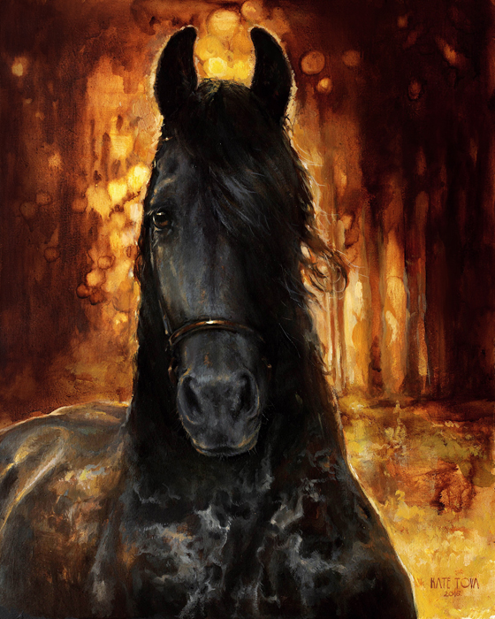 Beautiful, Portrait, Realism, Realistic, Sunlight, Dark, Black Horse, Front, Head, Horse, Oil, Friesian, Plain Air Painting, Life Painting, Live Painting, Horse Painting From Life