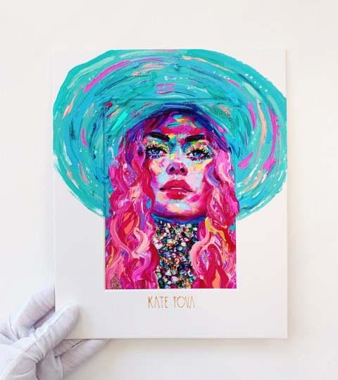 "Embellished Print Of ""Blue Hat"""