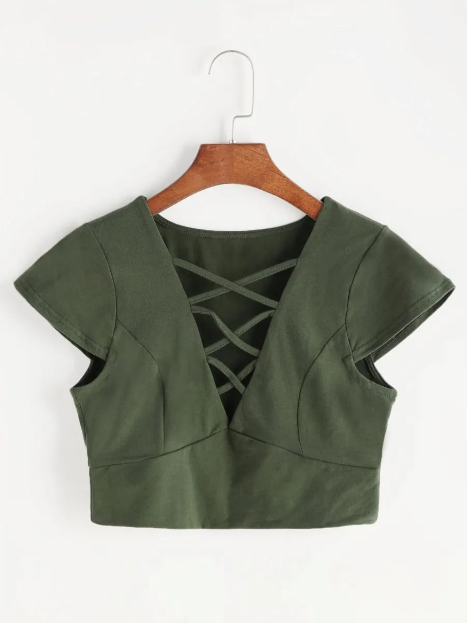 Army Green Lace Crop Top