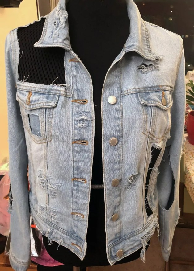 DIY Distressed Denim Jacket - www.kateyblaire.com