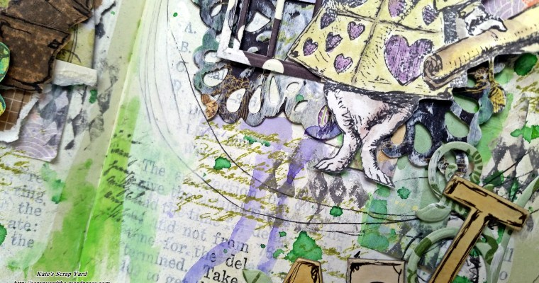 Tea With the White Rabbit: Mixed Media Art Journal Layout