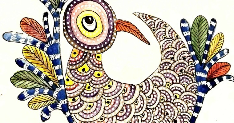 Bird Gond Watercolor Painting